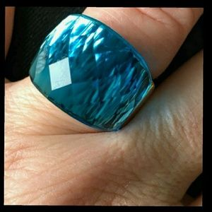 Blue Faceted Statement Cocktail Ring